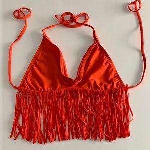 LSpace orange fringe bikini top in Medium
